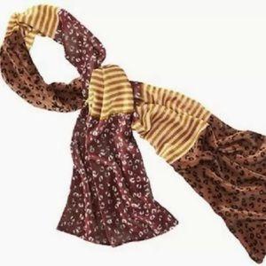 Ann Taylor LOFT Velvet Animal Print Stripe Scarf